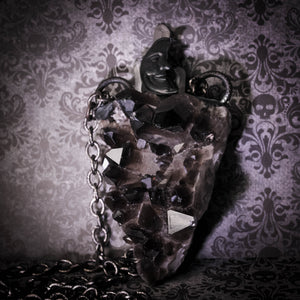 Moon Magic: Massive Smoky Quartz Cluster Amulet Statement Necklace (One Of A Kind)