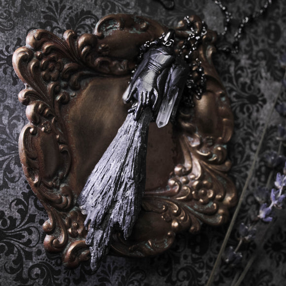 Season Of The Witch: Black Kyanite Broom And Victorian Hand Necklace (One Of A Kind)