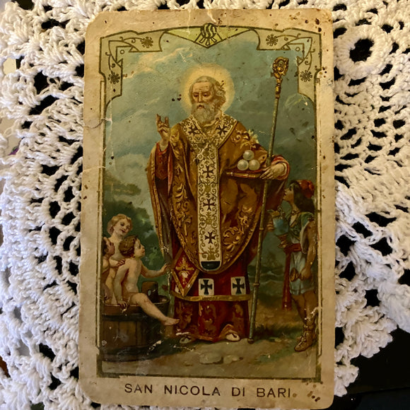 Rare Italian Antique Victorian Saint Nicholas Prayer Card
