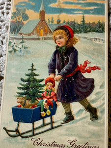 Original Antique German Christmas Postcard (Christmas Toys)