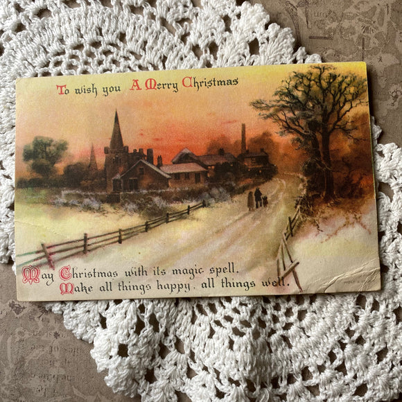Original Antique Winter Village Christmas Postcard