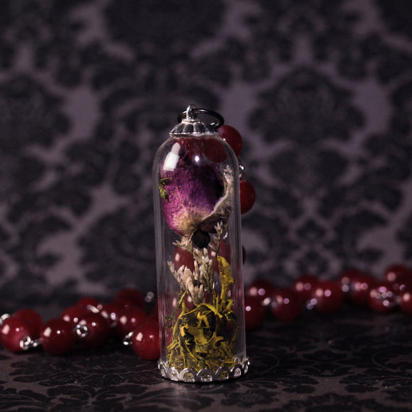 Tall Real Rose Bell Jar Necklace