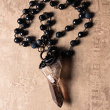 Smoky Quartz, Gray Jade, And Black Tourmaline Statement Necklace