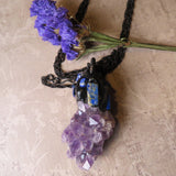 Amethyst Quartz And Lapis Lazuli Statement Amulet Necklace (one of a kind)