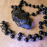 Black Tourmaline And Black Glass Rosary Amulet Necklace (One Of A Kind)