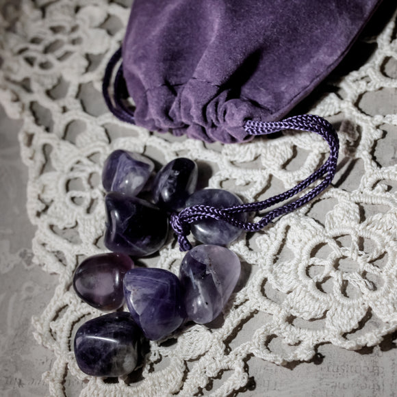 Black Amethyst Velvet Bag (eight stones)
