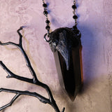 Black Crow Statement Necklace. Smoky Quartz, Black Kyanite, And Black Spinel