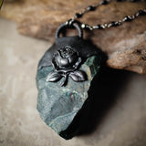 Black Rose And Raw Bloodstone Statement Necklace