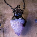 Cactus Quartz, Smoky Quartz, And Sapphire Statement Necklace (One Of A Kind)