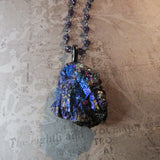 Handmade Chalcopyrite And Amethyst Glass Necklace (one of a kind)