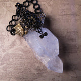 Handmade Huge Double Tibetan Quartz Crystal Amulet Statement Necklace (one of a kind)