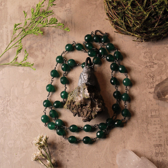 Handmade Epidote And Green Jade Statement Amulet Necklace (one of a kind)