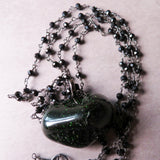 Handmade Green Goldstone And Black Spinel Statement Necklace (one of a kind)