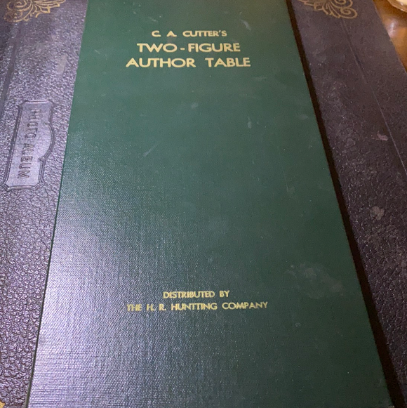 C.A. Cutter's Two-Figure Author Table, Antique Library Reference Table