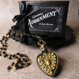 Victorian Inspired Heart Perfume Bottle Statement Necklace (Black/Gold)