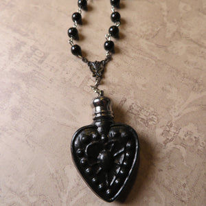 Two Left -Victorian Inspired Heart Perfume Bottle Statement Necklace (Solid Black)