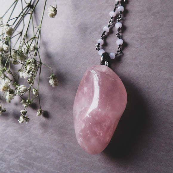 Handmade Rose Quartz And Pink Chalcedony Statement Necklace (one of a kind)