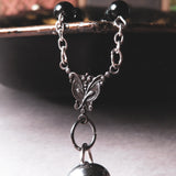 Victorian Inspired Heart Perfume Bottle Statement Necklace (Black/Silver)