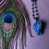 Handmade Chalcopyrite And Blue Glass Necklace (one of a kind)