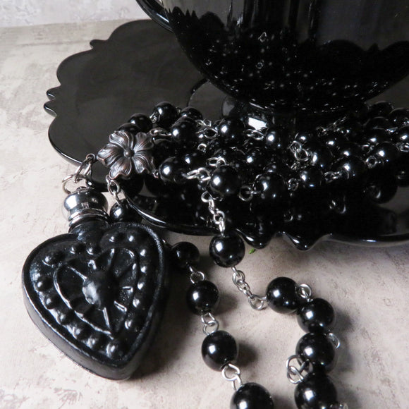 Victorian Inspired Heart Perfume Bottle Statement Necklace (Solid Black)