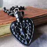 Victorian Inspired Black Heart Perfume Bottle Statement Necklace (Ten Available)