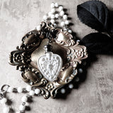 Victorian Inspired Heart Perfume Bottle Statement Necklace (Icy White)