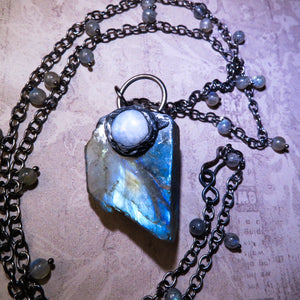 Labradorite And Moonstone Statement Necklace (One of a kind)