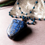 Lapis Lazuli And Neon Blue Chalcedony Statement Necklace (one of a kind)