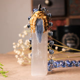Handmade Huge Selenite And Blue Kyanite Lightworker Statement Necklace (one of a kind)