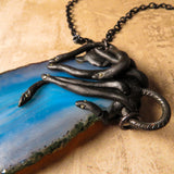 Blue Agate And Black Snakes Statement Necklace (One Of A Kind)
