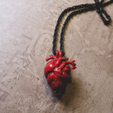 Red Anatomical Heart Urn Memorial Necklace (4 available)
