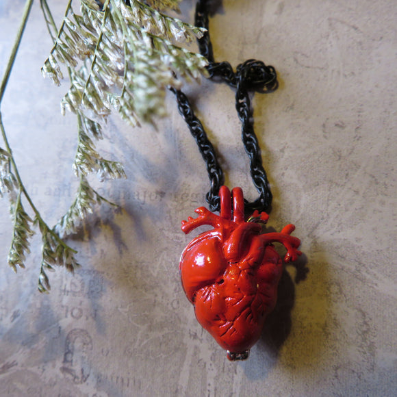 Red Anatomical Heart Urn Memorial Necklace (6 available)