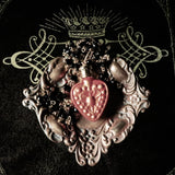 Victorian Inspired Heart Perfume Bottle Statement Necklace (Gilded Red)