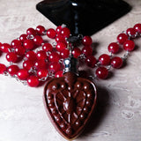 Vampire Red Victorian Inspired Heart Perfume Bottle Statement Necklace