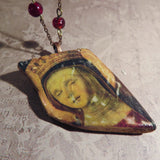 Rustic Saint Shipwreck Pottery Pendant Necklace