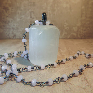 Handmade Selenite And Pink Chalcedony Necklace (one of a kind)