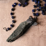 Handmade Huge Seraphinite Victorian Angel Statement Amulet Necklace (one of a kind)