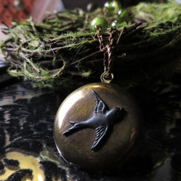 Victorian Swallow Locket Necklace