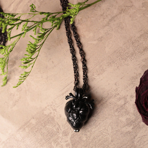 Black Anatomical Heart Urn Memorial Necklace (6 available)