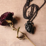 Black Anatomical Heart Urn Memorial Necklace