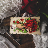 Red Rose Victorian Hidden Name Calling Card