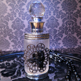 Victorian Gothic Black Rose Embellished Perfume Bottle (Silver)