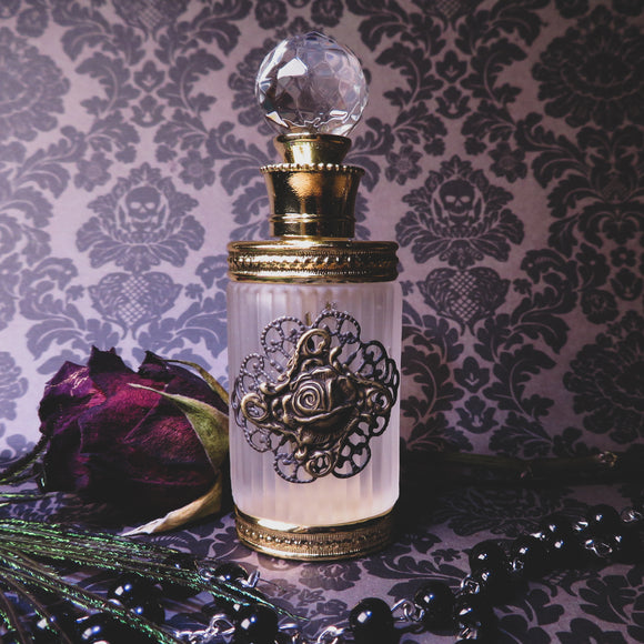 Victorian Gothic Gold Rose Embellished Perfume Bottle (Antique Gold)