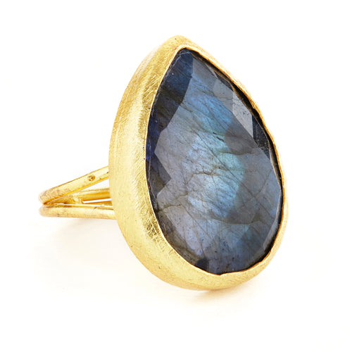 Labradorite Teardrop Ring
