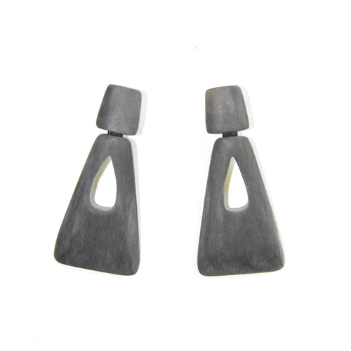 Grey Horn Pyramid Earrings