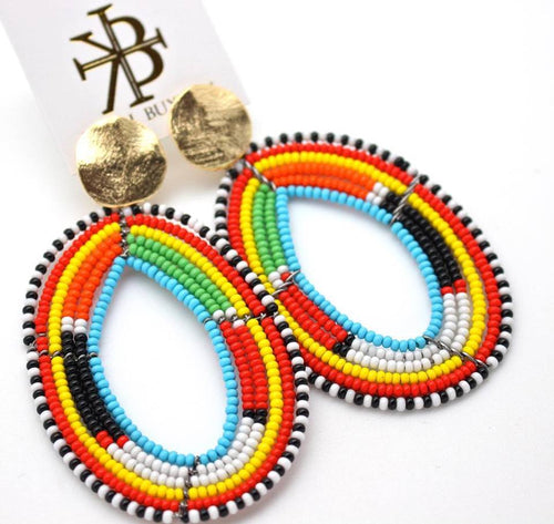 Studded Colorful Beaded Hoops