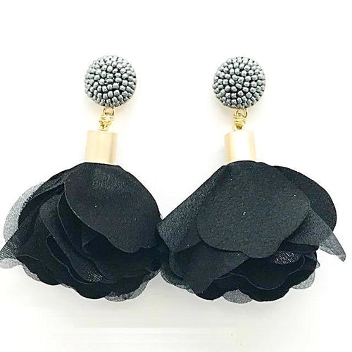 black fabric flower earrings alli beads monica lavin label