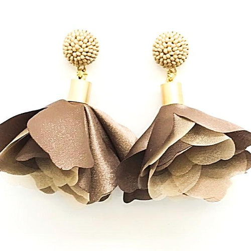 camel fabric flower earrings alli beads monica lavin label