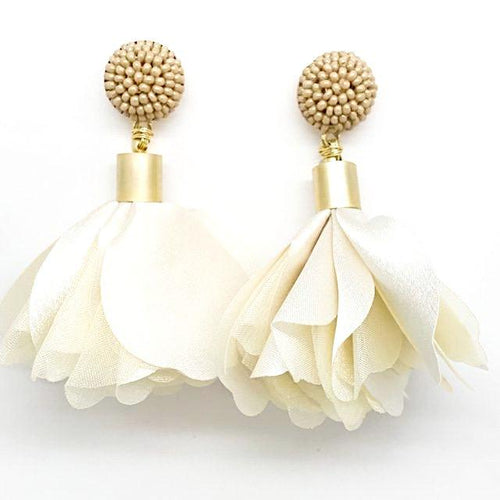 ivory fabric flower earrings alli beads monica lavin label