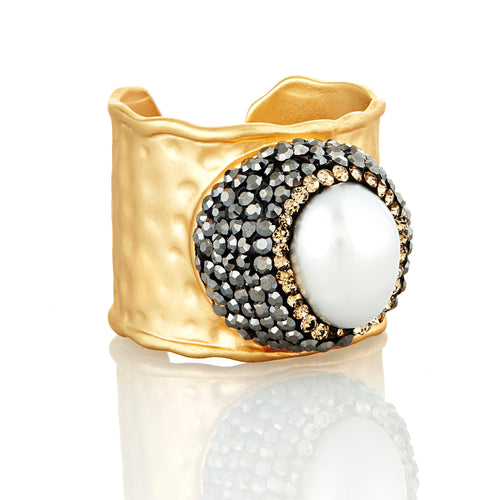 elyssa bass pearl crystal cuff ring monica lavin label